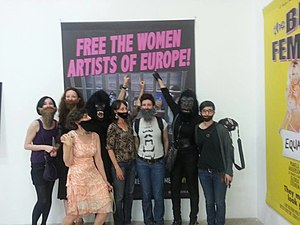 Guerrilla Girls - French feminist group La Barbe (Beard) meets the Guerrilla Girls at the Palais de Tokyo (Paris, 2013).