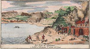 Lake Agnano - Image: Lago di Agnano e Grotta del Cane acquaforte aquerellata Sieur de Rogissart