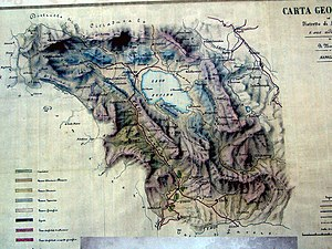 Alessandro Torlonia, 2nd Prince of Civitella-Cesi - Alessandro Torlonia became the Prince of Fucino in 1875 because he financed the draining of Lake Fucino 1862-75, seen in this map.