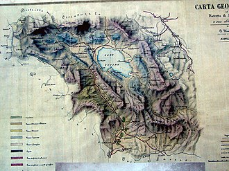 Fucine Lake - Old map showing Lake Fucino before modern draining.