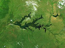 Vue satellite du lac Kyoga