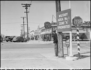 Lancaster, California. Sign on main street designating military zone. - NARA - 536860.jpg