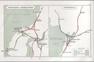 Leeds–Morecambe line - Railways between Carnforth, Lancaster and Morecambe in 1913