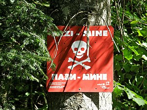 Land mine contamination in Bosnia and Herzegovina - Landmine warning sign in Bosnia and Herzegovina