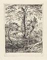 Landschap met twee koeien bij bomen en een beek Landschappen (serie A) (serietitel), RP-P-OB-24.213.jpg