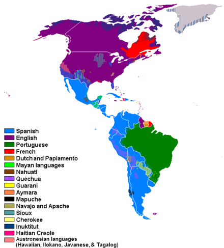 Languages spoken in the Americas Languages of the Americas.PNG