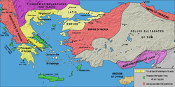 The Laitin Empire wi its vassals (in yellae) an the Greek successor states o the Byzantine Empire (in reid) efter the Treaty o Nymphaeum in 1214. The borders are very uncertain.
