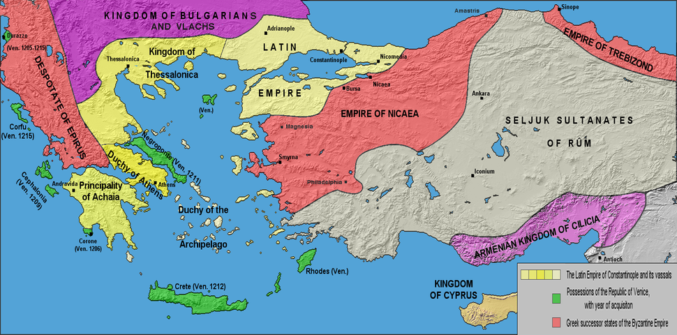 The Latin Empire with its vassals (in yellow) and the Greek successor states of the Byzantine Empire (in red) after the Treaty of Nymphaeum in 1214.