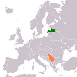 Map indicating locations of Летонија and Србија