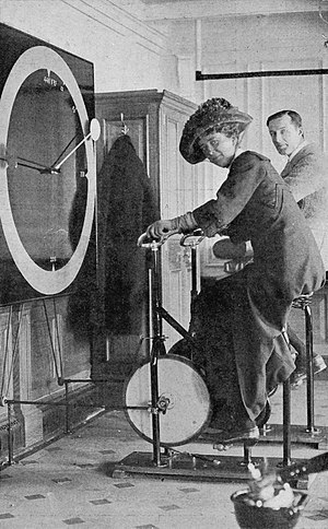 Lawrence Beesley - Lawrence Beesley (back) in the Gymnastics Room of the Titanic