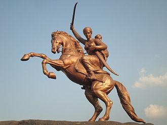 Rani of Jhansi - An equestrian statue of Lakshmibai in Solapur, Maharashtra