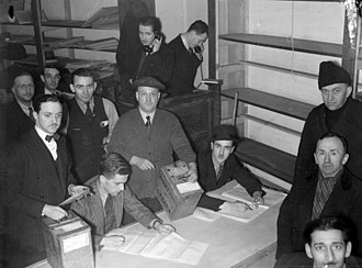 St. Henri (electoral district) - Counting the ballots in the 1938 by-election in the riding of St. Henri; Camillien Houde, running for the Conservatives, lost to Joseph Arsène Bonnier for the Liberals.
