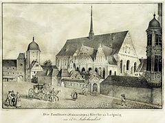 The Paulinerkirche in Leipzig: in 1717 Bach had tested the new organ in this church. (Source: Wikimedia)