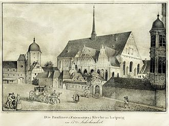 Paulinerkirche, Leipzig - The Paulinerkirche in the 17th century, lithograph by Ernst Wilhelm Straßberger, ca. 1839