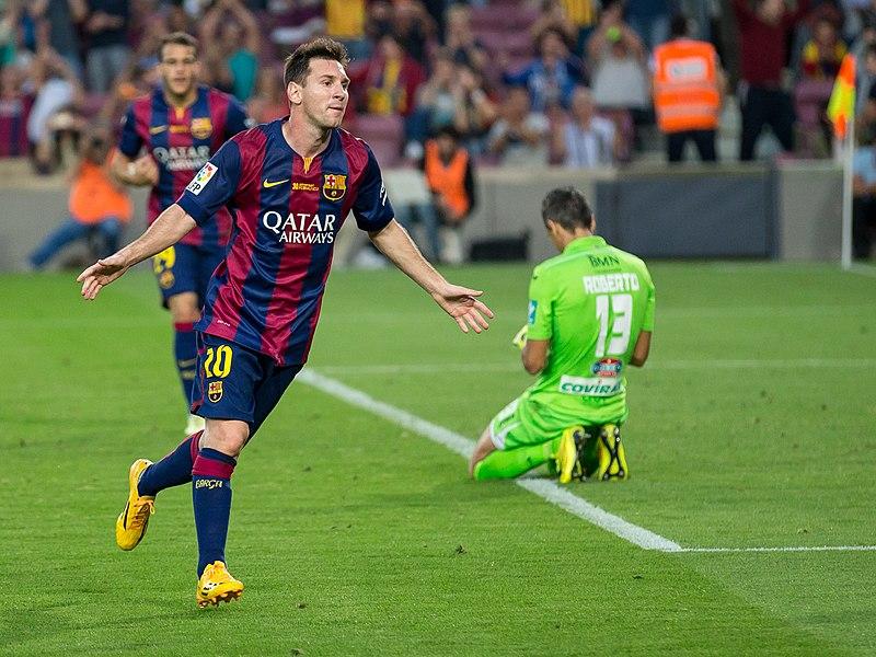 Leo Messi, celebrando un gol.