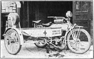 Motorcycle ambulance - Beach life guard motorcycle, Redondo Beach, California, 1915
