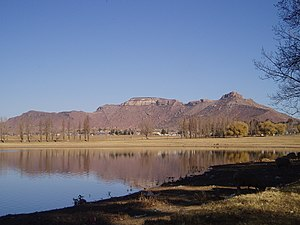 Mafeteng - A view of Likhoele, Mafeteng's second highest mountain, from the reservoir by Kingsgate Primary School