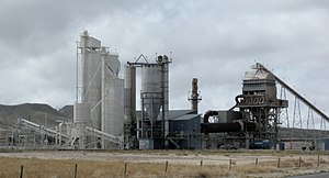 Rotary kiln - Rotary kiln (rust colored horizontal tube at right) at a Wyoming cement plant