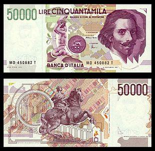 0eaab0c692 L'ultima banconota da 50.000 lire, detta Bernini (II tipo), emessa tra il  1992 ed il 1999.