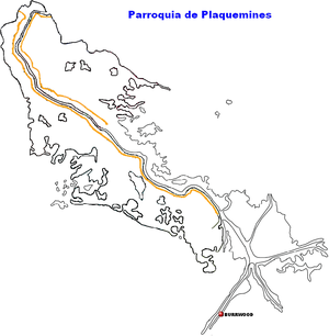 Burrwood, Louisiana - Location of Burrwood within Plaquemines Parish, Louisiana.