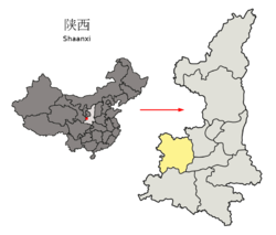 Location of Baoji Prefecture within Shaanxi