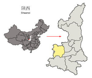 Baoji - Image: Location of Baoji Prefecture within Shaanxi (China)