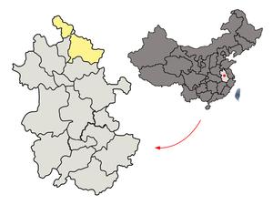 Suzhou, Anhui - Image: Location of Suzhou Prefecture within Anhui (China)