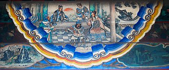Battle of Bowang - A scene from the Romance of the Three Kingdoms illustrated in a mural of the Long Corridor in the Summer Palace, Beijing: Zhang Fei scoffs at the newcomer Zhuge Liang and reluctantly takes his orders
