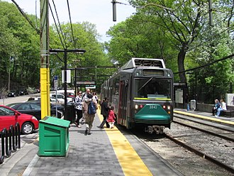 Longwood (MBTA station) - An outbound train at Longwood station in May 2011