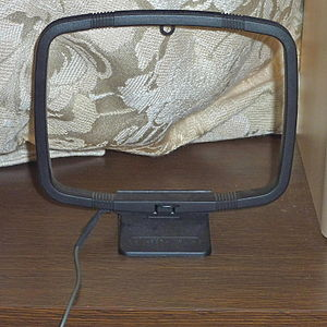 Loop antenna - Small loop antenna used for receiving, consisting of about 10 turns around a 12 cm × 10 cm rectangle.