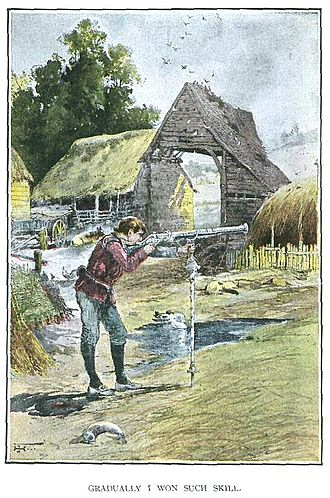 Lorna Doone - Jan Ridd learns to fire his father's gun – from an 1893 illustrated edition