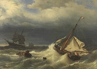 Schepen op zee bij stormachtig weer