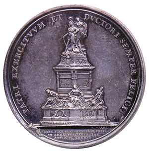 Joseph Roettiers - medallion by Joseph Roettiers, Obverse: Louis XIV of France, Reverse: inauguration of Martin Desjardins's statue of Louis XIV (now destroyed) in the Place des Victoires, Paris, 1686