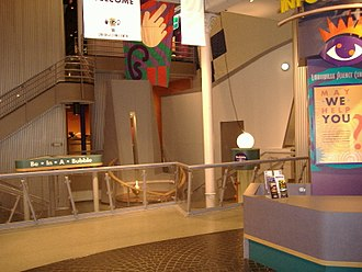 Kentucky Science Center - The lobby area; the pendulum has been a fixture of the building for decades