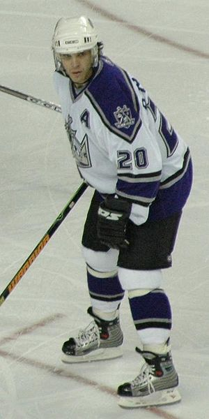 "Captain (ice hockey) - Luc Robitaille in 2005: the ""A"" is commonly on the left side of the jersey"