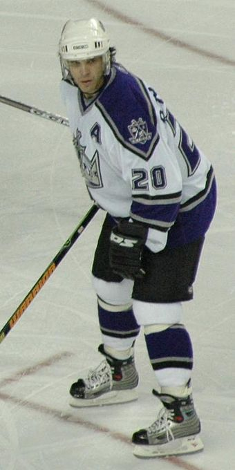 "Luc Robitaille in 2005: the ""A"" is commonly on the left side of the jersey LucRobitaille.jpg"