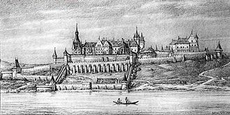 Buda Castle - Eastern view of the Medieval Royal palace   (1490s)