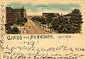 M. Bär PC Gruss aus Hannover. Georgstrasse. Bildseite Lithografie, vor Errichtung Hannoversche Bank.jpg
