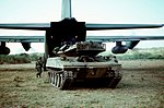 M551 Sheridan of the 82nd Airborne Division being offloaded from C-130 during Ocean Venture '84 DN-ST-86-02274.jpg