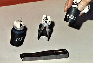 English: M77 submunition bomblets which is pac...