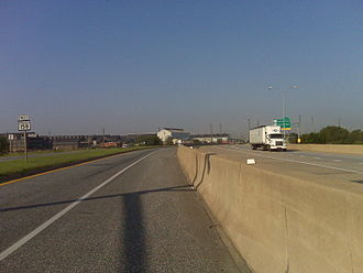 Interstate 695 (Maryland) - MD 158 (left) running alongside I-695 (right)