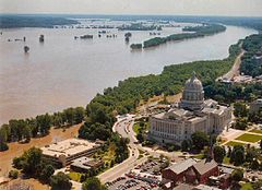 "Flood waters inundated parts of Jefferson City, Missouri, and threatened the Missouri State Capitol during the ""Great Flood of 1993""."