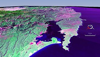 Cape Sorell - False colour Landsat image showing Macquarie Harbour with Cape Sorell in the centre right area of the picture.