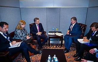 Argentina–Ukraine relations - Argentine President Mauricio Macri and Ukrainian President Petro Poroshenko meeting at the United Nations in New York City, 2016.
