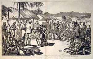 Humanitarian aid - A contemporary print showing the distribution of relief in Bellary, Madras Presidency. From the Illustrated London News (1877)