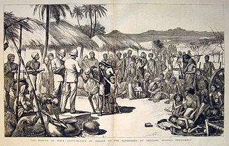 Famine in India -  A contemporary print of the Madras famine of 1877 showing the distribution of relief in Bellary, Madras Presidency.  From the Illustrated London News, (1877)
