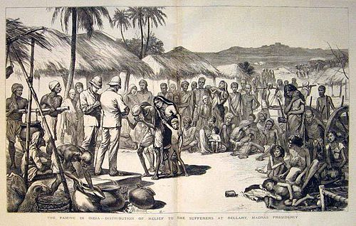 A contemporary print showing the distribution of relief in Bellary, Madras Presidency. From the Illustrated London News (1877)