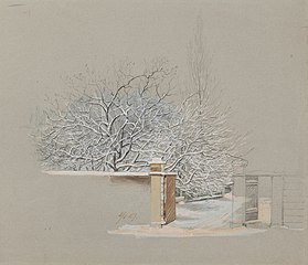Lumisia puita Annankatu 15:n pihalla