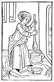 Butter-making woman, Compost et Kalendrier des Bergères, Paris, 1499.