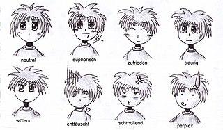 Verschiedene Gesichtsausdrücke im typischen Manga-Stil gezeichnet.